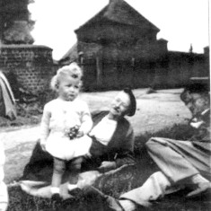Picture 1. Herbert Dunsmore and grandson David Tinkler with friend George Repton, 8th of July 1951.