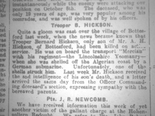 Bernard Hickson Obituary 20/11/1915
