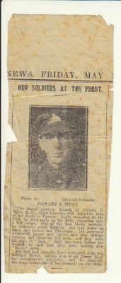 'Our Soldiers at the Front' Private J Hunt The many pontoon friends of Private J Hunt MM, of the Lincolns, will regret to hear of his death in France.  Badly wounded on the 27th, he died early on the 28th lingering only a few hours.  One of the first 'Derby recruits' he had seen much fighting and was home on leave just before last Christmas.  He possessed wonderful nerve and spirit and was always helping and cheering his pals, and they were all pals to 'Jack'.  Only the week before his wounds he said how they were taming the 'Huns' down. He had just recently been presented with the Military Medal, having won it on March 22nd for conspicuous gallantry, and he received the congratulations of his General on the field.