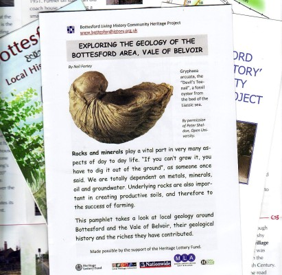 Project Geology Leaflet, showing a 'Devil's Toenail' a common fossil which can be picked up in the surrounding fields. Leaflet available free from Bottesford Library.