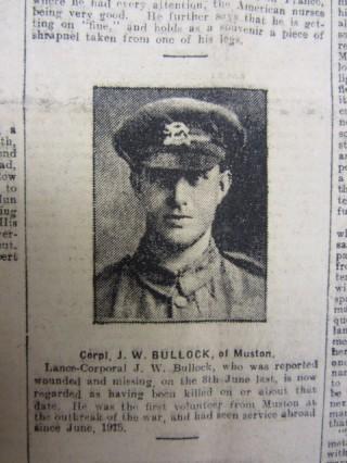 Corpl. J.W. Bullock Grantham Journal, Saturday, April 6th, 1918