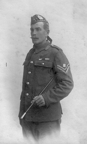 A very proud John William Stewart, back in the KOSB uniform again in late 1914 Note the drum above the stripes, showing he was a qualified bandsman