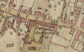 Map, 1884, showing Jackson's Row, later known as Butcher's Row, High Street.