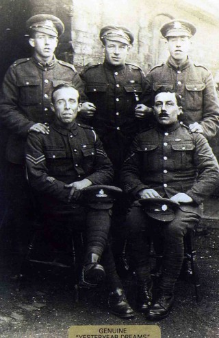 The 'Jallands' Brothers - Standing left to right: Albert Jallands, Ernest Jallands, Herbert Jallands. Sitting Walter Jallands and Arthur Ward (Mrs Jallands' son from her first marriage). Arthur was a mule handler. He was sent either to Gallipoli or Alexandra and was invalided home with severe dysentry