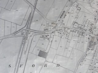 Map ca.1960 showing the site of Bottesford South Station at the west end of the village.