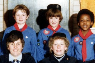 2nd Bottesford Guides, 1985. Back: Claire Thompson, Rebecca Simmonds, Marjory Smith. Front: Jill Bagnall, Jane Willcock.