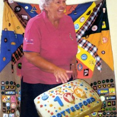 Jill Bagnall with the 100th Birthday Cake