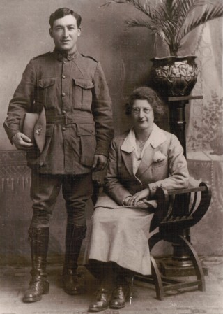 Wedding photograph of Edith Cooper and Joseph Granari, 18th November 1918. Joseph is the uniform of the Australian Infantry Force, with its distinctive sunburst badge in his slouch hat, and sunburst collar studs. | Collection of Don Roach and family