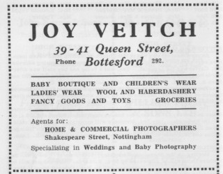 Advertisement from the 'Cross and Stocks' Bottesford Village Magazine