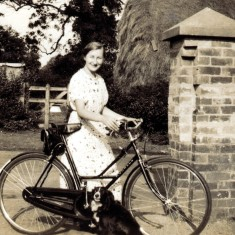 Miss Walker with her bicycle