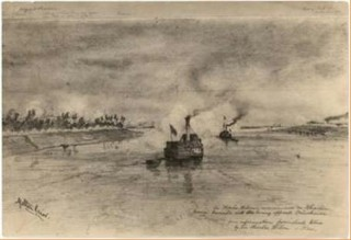A drawing of the Khedivial Postal Steamers used to transport the KOSB to Suakim