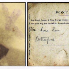 Nellie Cooper (left) Reverse of photograph 'F.Taylor, Photo., Queen's Street, Bottesford'