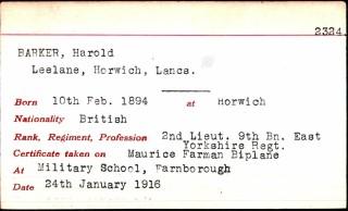 Pilot Certificate record card for 2nd Lieut. Harold Barker, 9th Battalion, East Yorkshire Regiment.