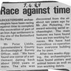 Bottesford Bypass archeology - April 1988