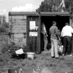 Bottesford Gardening Club shed and members at doorway