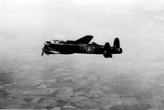 A Lancaster bomber of No 207 Squadron in air
