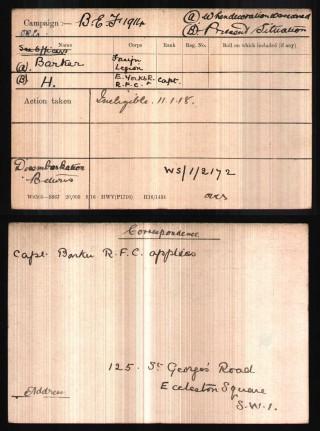 Capt. Harold Barker's Medal Index Card