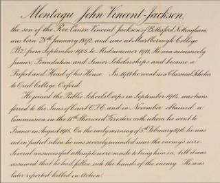 Marlborough College WW1 Roll of Honour entry for Montagu Vincent-Jackson