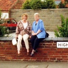 Margaret Montegriffo and Angela Bradshaw on the wall of the Rutland Arms a few years ago.