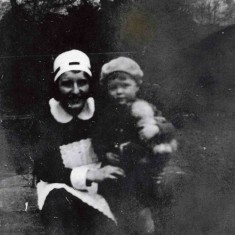 Mary working as a nursery maid with one of her charges at Glebe House, Muston