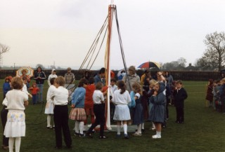 Sorting out the May Pole ribbons in 1986 at Bottesford Primary School  - cold and and undampened spirits