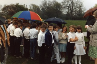 Gathering for May Pole, or maybe rain dancing in 1986 - Bottesford Primary School