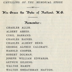 Dedication of WW1 Memorial, Order of Service, June 2nd 1921
