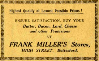 Frank Miller Stores advert advert from the 1926 Bottesford Amateur Operatic Society programme for 'The Pirates of Penzance'