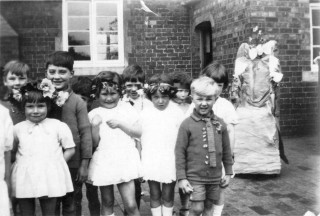 May Day Pageant in the 1920/30's at Bottesford School (Back Row Left to Right George Waudby, William (Jabbers) Jackson)