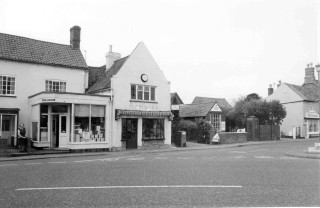 Mrs Moulsher outside her shop in the early 1980's