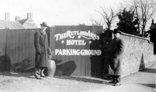 Rutland Arms 'Parking Ground' in 1921 with Mr Terry (right) and friend