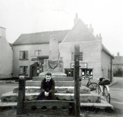 Keith Waterfall's father at Bottesford stocks, 1955.
