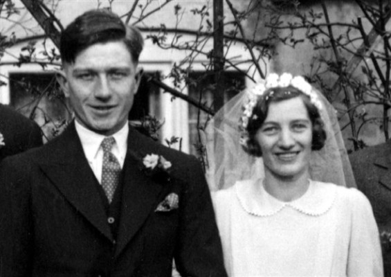 Bride and Groom: Mr. and Mrs. Cyril Palmer, 1938.