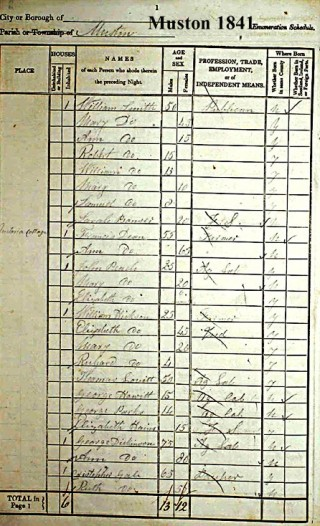 Page one of the 1841 Muston census