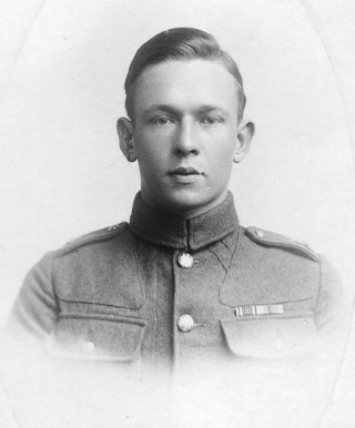 Cyril Coy, photographed post-WW1 in the uniform of the Durham Light Infantry wearing his medal ribbons, 1917. | Personal family collection of Mr Iain Coy.