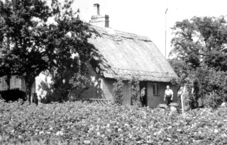 The same cottage in the mid C20th. This was the last cottage in the village to retain a thatched roof.
