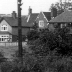 Houses on Station Road which could then be seen across the fields