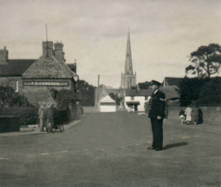Sgt Bradshaw on point duty at Bottesford, 1950, at the junction of Belvoir Road and the Market Place | Michael Bradshaw