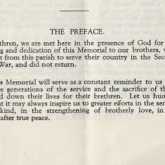 Dedication of the WW2 Memorial, Order of Service, October 31st, 1950