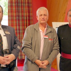 Professor David Stocker (Heritage Lottery Fund) Jonathan D'Hooghe ( Western Front Association), Col. Murray Colville (Vice Lord Lieutanant of Leicestershire)