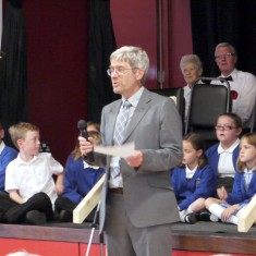 41 poppies - one for each person who did not return.  The Choirs and the Project Coordinator David Middleton.