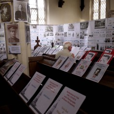 Information folders for visitors to read, and part of the family history mega-family tree
