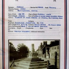 Information sheet for Private Jesse Norman of Bottesford