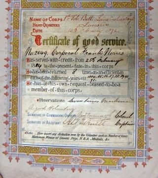 Certificate of Good Service, Corporal Frank Norris, 'Seven times marksman. A good volunteer.'