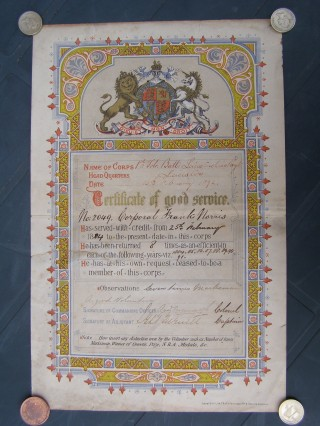 Certificate of Good Service awarded to Corporal Frank Norris