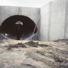 Culvert to take the River Devon under the Bottesford by-pass - Spring 1989. Unfortunately it was not big enough to take the rain waters in July 2001 and the road flooded