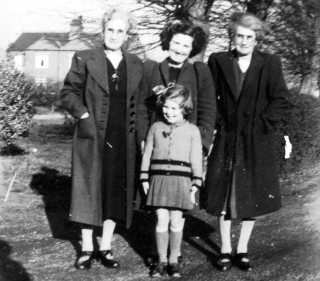 The Limes 1942. Left to right:Grandma Baggely (Patti), Hilda Baggley (Joy;s mother), Grandma's sister, Annie (Nan) Front: Joy Simpson (nee Baggley).