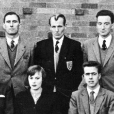 Back row, left to right: Mr. Fred Greenway, Mr. John Hodson, Mr. Dick Bradshaw. Front row: Mr. Percy Stimpson, Ms. Dorothy Hodson, Mr. Pat Poyser.
