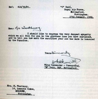 Letter of condolence to Mrs Westbury of Nottingham following the loss of her son on the night of 14th January 1942.