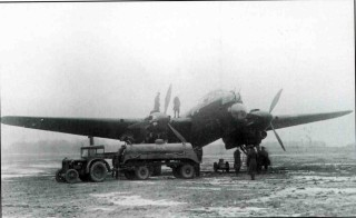 F/Sgt 'Ginger' Hathersich's 'B-Beer', Manchester L7486 is refuelled at an icy West Malling on the morning of the 12th February 1942, having diverted there on return from Mannheim the night before.